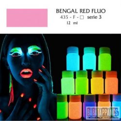 """UV fényben világító fluoreszkáló akril festék - """"Bengal red"""" - 12ml, OEM"""