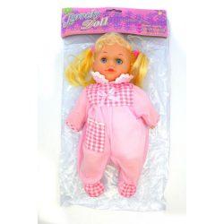 Hajas baba, puha testű, csipogós, alvós szemű, 27 cm, 21x36 cm zacskóban