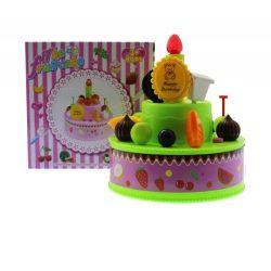 Torta, elemes(3 gombelem benne), világító gyertyával, 3 szín, 15x15 cm dobozban