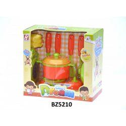 Edény készlet gázfőzővel, 1 nagy edény fedővel és kiegészítőkkel, rózsaszín. A doboz mérete: 22x20 cm