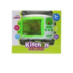 Mikrosütő, elemes(2xAA), hangot ad és világít, kiegészítő benne, zöld-fehér, 17x15 cm dobozban