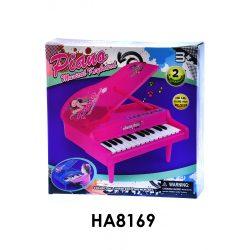 Zongora, pink színű, elemes, hangfelvevős és visszajátszós, zenél és különböző hangokat ad. A doboz mérete: 33x33 cm