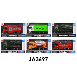 Fém autó, tűzoltó, teherautó, munkagépes, szemetes, 15x8 cm dob. (24 db/displ.)