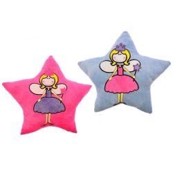 Plüss párna, csillag alakú, hímzett, tündér hercegnő minta, 2 szín: pink, kék, 38x36 cm