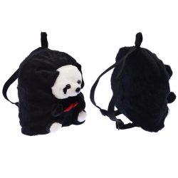 Hátizsák, rajta panda, fekete, 20 cm