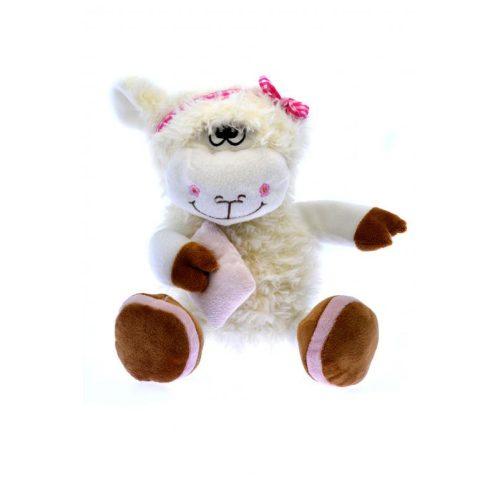 Plüss bárány, göndör szőrű, hímzett szemű, párnával, 2-féle: rózsaszín vagy lila kiegészítővel, ülve 26 cm, nyújtott lábbal 40 cm