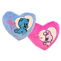 Plüss párna, szív alakú, hímzett, rózsaszín nyuszi vagy kék maci minta, 35x33 cm