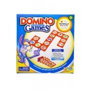 Dominó, képes, 62 darab dupla oldalú kártya, amivel 6-féle fejlesztési forma szerint lehet játszani(pl.: számolás oktató), 21 darab műanyag dominókártya tartóval, 26x27 cm dobozban