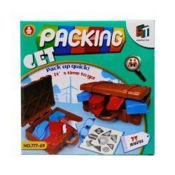 Társasjáték, bőröndbe csomagolós. A cél hogy mielőbb bepakolt a tárgyakat a bőröndbe, de csak akkor sikerül, ha jól logikázol, akár egy tetriszben. A csomagolás mérete: 21x21 cm.