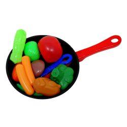 Műanyag játék ételek serpenyőben